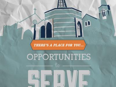 Opportunities to Serve brochure cover northside umc blue illustration
