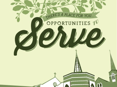 Opportunities to Serve #3 brochure green cover northside umc illustraton