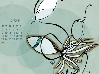 June Calendar illustration fish calendar