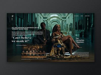 Apesh*t Art Page gallery france cinema album statue art history museum ui ux web design typography