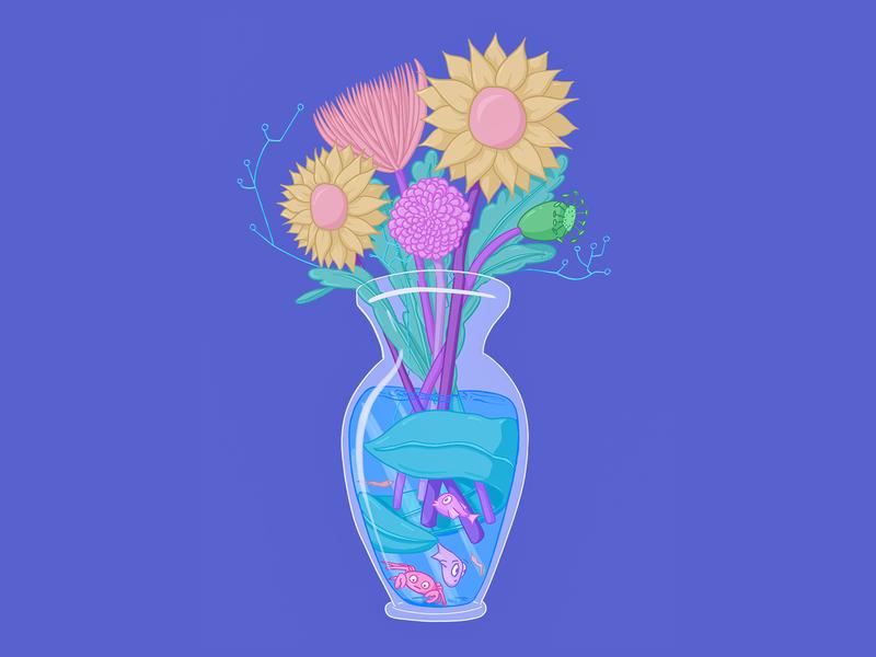 Fish in a Flower Vase ipad illustration cool colors pastel prop design fantastical crab spidermum chrysanthemum sunflower fish vase flowers procreate animal cartoon illustration