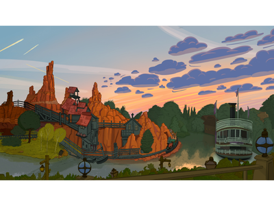 Thunder Mountain Disneyland Paris ride thunder mountain theme park background design digital painting river sunset sky disney disneyland disneyland paris animation background magic visual development procreate cartoon illustration