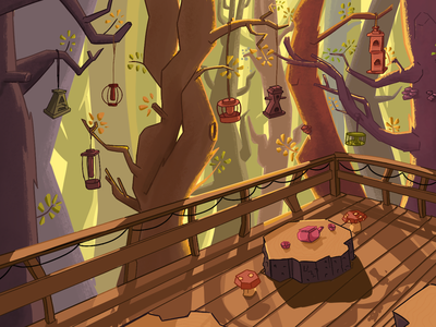Fall Cabin Porch autumn fall birdhouses mountains forest cabin woods animation visual development procreate cartoon illustration
