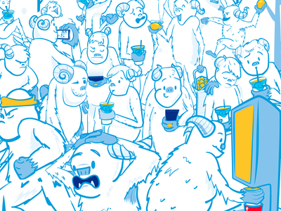 Find Freddie the Yeti abominable snowman lemon game social freal hide and seek winter snow yeti milkshake food vector illustrator illustration