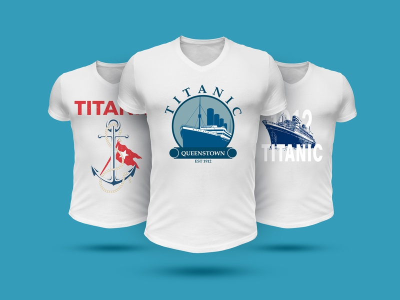 Titanic titanic typography 2d logo desing character cartoon artwork drawing digital art ui flat ux logo icon graphic illustration adobe illustrator vector design graphic design