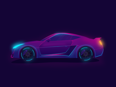 Car Illustration graphic adobe illustrator logo app icon ui ux webui uiux neon colors landingpage gradient illustration dribbble design darkui dark carui car affinitydesigner