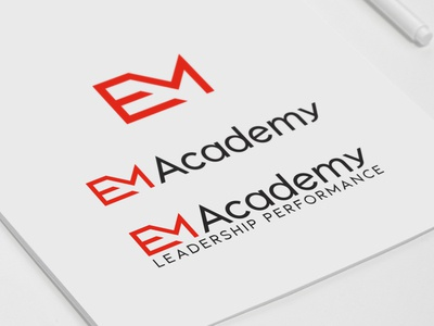 EM Academy Logo identity lettering type website logo desing web minimal typography app icon logo flat ui ux graphic adobe illustrator branding vector design graphic design