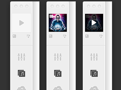 states navigation chrome icons application picas ui interface music player pause play album