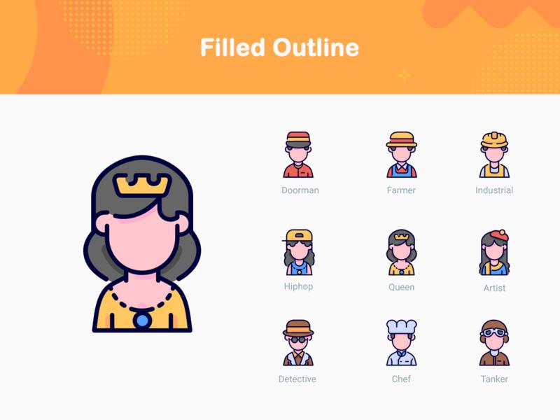 Avatars - filled outline style icons webdesign web iconography iconfinder icon app gorontalo ui bukeicon icon