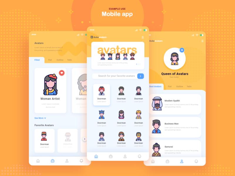 Mobile app - example use : avatars iconset avatar icon avatar icons web webdesign iconography gorontalo bukeicon ui icon app icon icon set avatars iconset