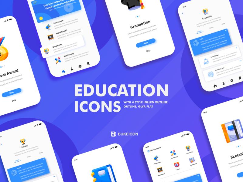 Education icons iconography ux userinterface flat icon app indonesia icons ui gorontalo iconfinder dribbble webdesign illustration web bukeicon icon