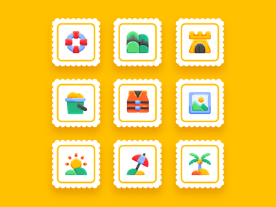 Summer Vol 1 - flat - bukeicon uidesign ui summer icons summer party summer camp summertime bukeicon travel flatdesign icon set summer icon