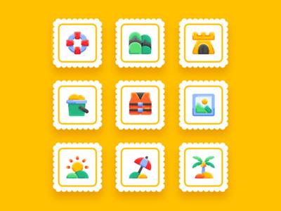 Summer Vol 1 - flat - bukeicon uidesign ui summer icons summer party summer camp summertime bukeicon travel flatdesign icon set summer icon
