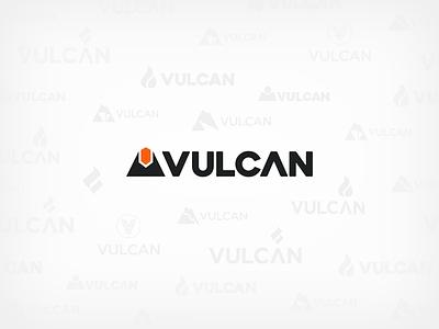 Vulcan: RE-Branding orange flat web typography website industrial logo corporate identity minimal logo branding icon clean vector design
