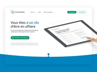 ClicIncorporation: Your business success is one click away. homepage design landing page layout montreal startup law firm lawyers ux minimal app flat illustration icon branding website vector clean web design