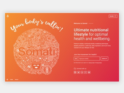 Somati - Launch page animation typography minimal illustration website vector app clean web design