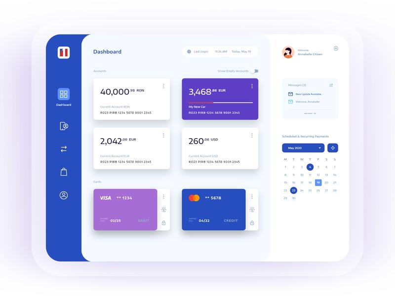 Banking Dashboard web wallet ux ui money interface finance design dashboard cards blue banking app design application app