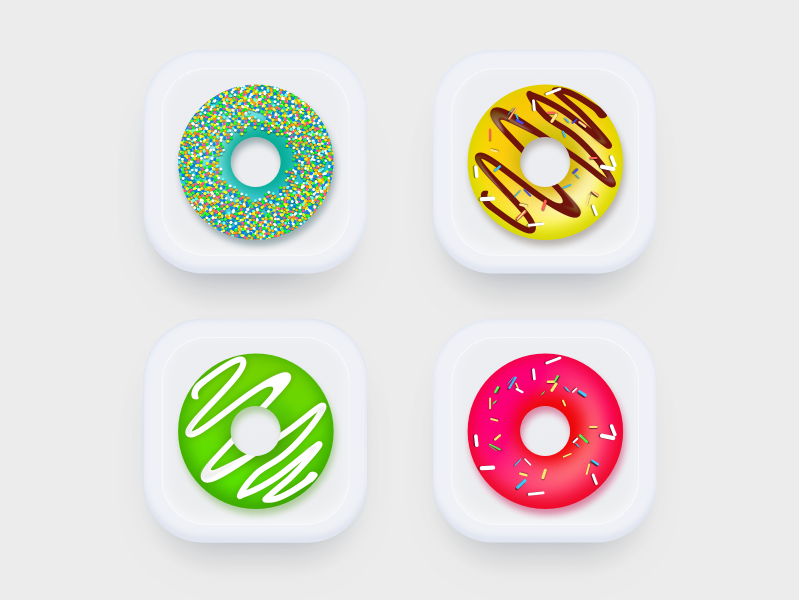 Donuts Icons UI  number cube shape game illustrations web dice scetch design vector