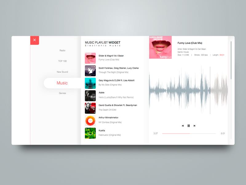 Music Playlist widget by John Khester on Dribbble