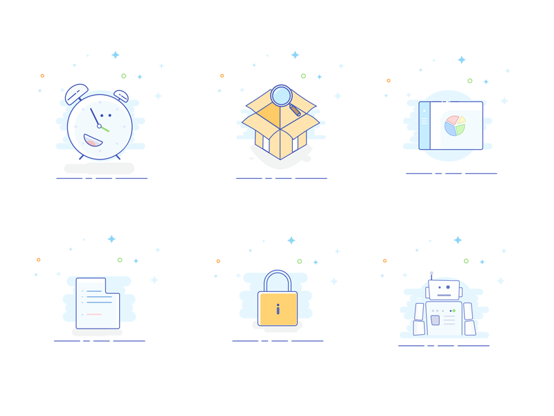 Styled vector icons illustration bord dash blank oclock box robot lock pack set illustration vectors icons