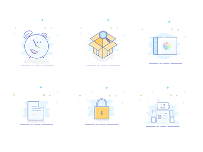 Styled vector icons illustration