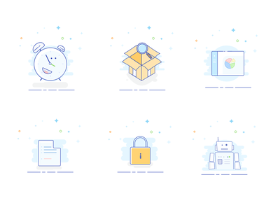 Styled vector icons illustration bord dash blank oclock box robot lock pack set illustration vectors icons