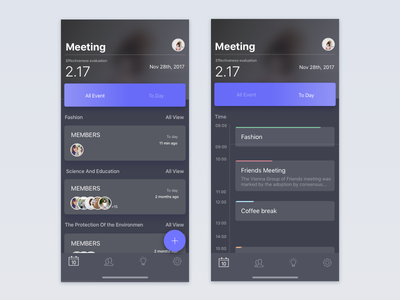 Meeting Calendar tab task meet event calendar add dark x iphone ui app ios