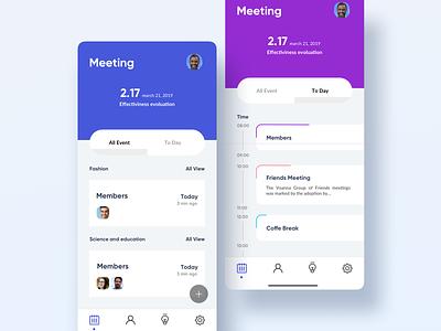 Meeting Calendar meeting to do list to do blue icons clean minimal design iphone ios web ux ui