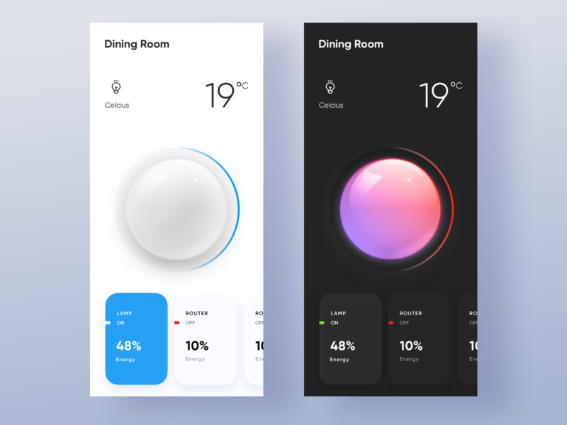 Lighting Dimmer mode dark mode minimal clean home iphone ux lighting app ui