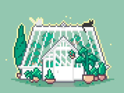 Occult Cats - Greenhouse pixel pixels illustration pixelcats cats pixelartist pixelart
