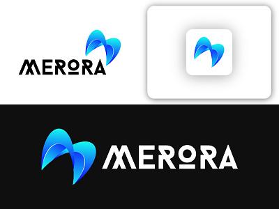 Modern M logo MERORA red blue icon sing unique logo creative logo company logo business logo marketing logo design minimalist logodesign logotype brand design logo branding