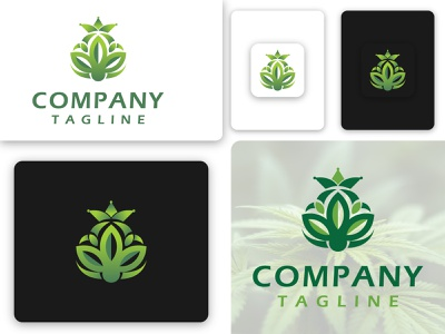 Cannabis Crown Logo nature medical brand design business drug marijuana crown logotype branding logo graphic design cannabis