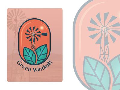 Windmill green logodesign minimalist design branding brand design logotype logo windmill