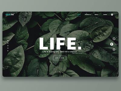 Health | Landing Page health life web design web uiux ui graphic design design