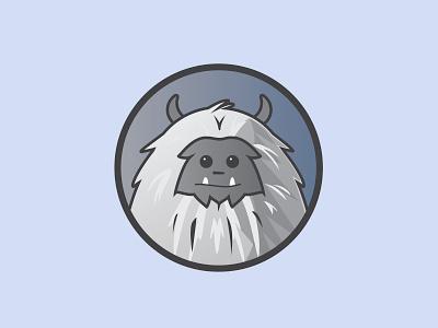 Yeti badge horns snow yeti illustration