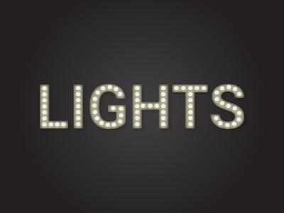 Lights type glow bulb lights typography