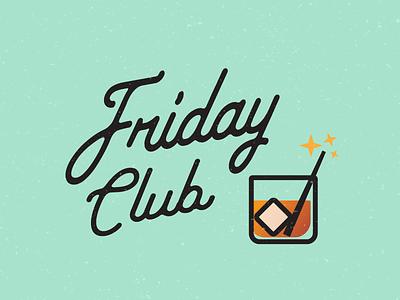 Friday Club logo alcohol magic drink cocktail illustration typography