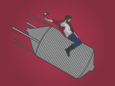 WIP - Riding a Silo illustration rider silo illustration