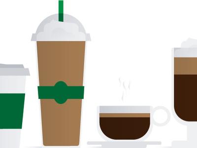 Coffee break cups espresso frap latte illustration coffee