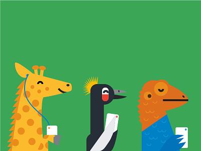 Nigerian Animals illustration phones nigeria animals agama lizard crane giraffe