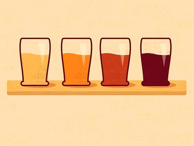 Beer Flight flight wood beer vector design illustration