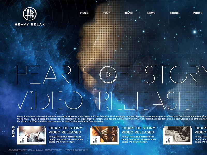Music group website webdesign music space relax