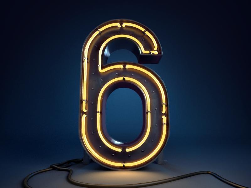 Magicbox Blog – 6th anniversary illustration FINAL 3d 6 digit number blog illustration anniversary neon