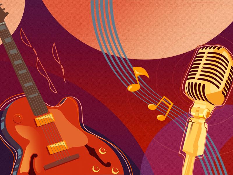 Jazz scene art music melody notes microphone guitar jazz