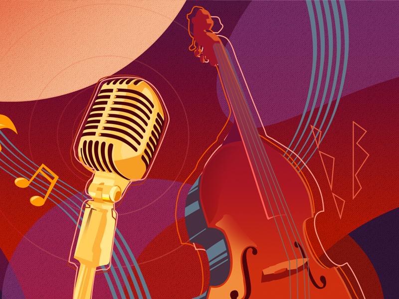 Jazz scene part 2 art music melody notes microphone bass jazz