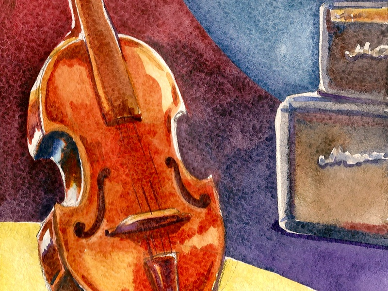 Watercolor Jazz contrabass marshall club painting watercolor jazz