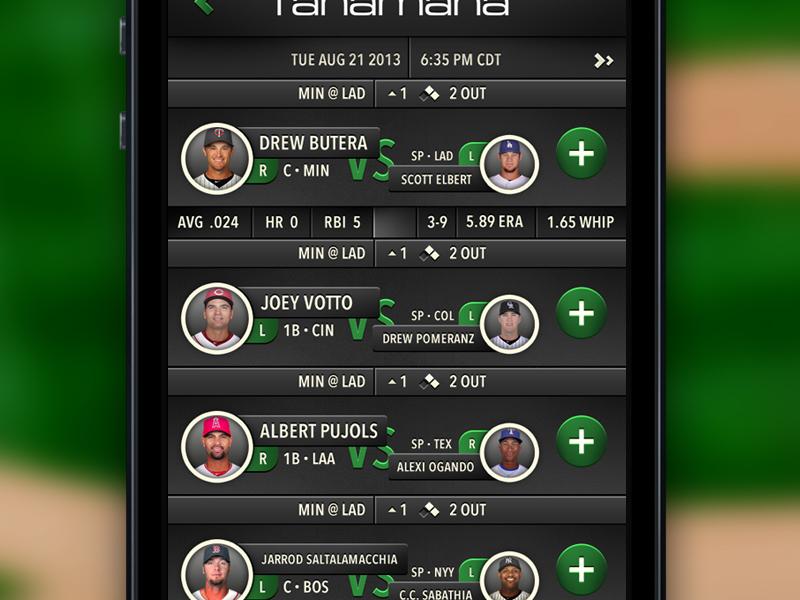 Pick Selection List fanamana baseball hitter sports ios dark green field pitcher stats circle list ui