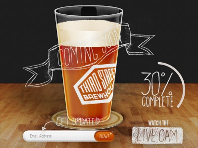 Coming Soon WIP light beer glass pint draft craft handdrawn sign up completion wip coaster perspective form button sketch