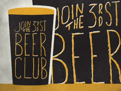 Beer Club froth beer 3rd street hand drawn texture gold