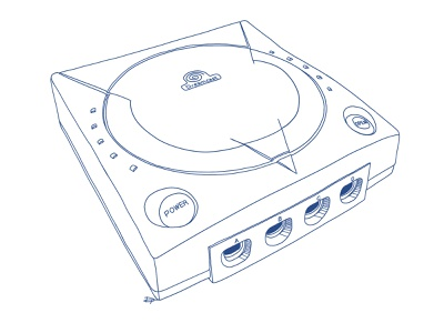 Dreamcast Illustration for Book Cover blue lineart sega handdrawn retrogaming retro console videogames illustraion gaming dreamcast